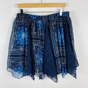 Maurices Navy Blue Paisley Mini Skirt Pull On
